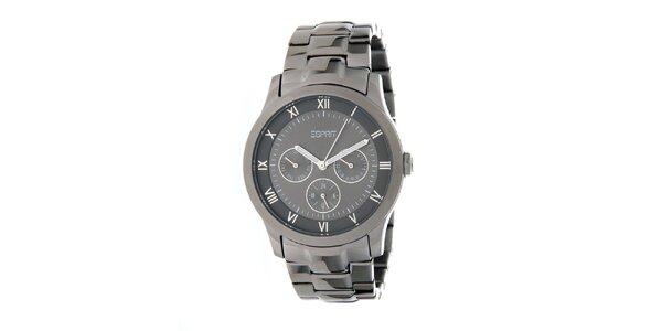 Dámské kovově šedé ocelové hodinky Esprit