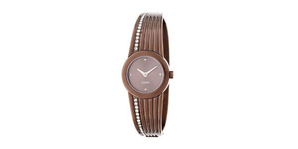 Dámské ocelové hodinky Esprit v měděné barvě s krystaly
