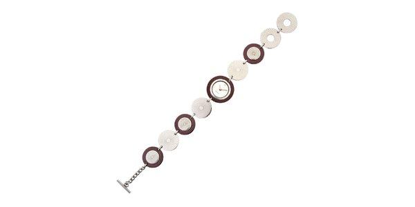 Dámské stříbrno-hnědé náramkové hodinky Esprit