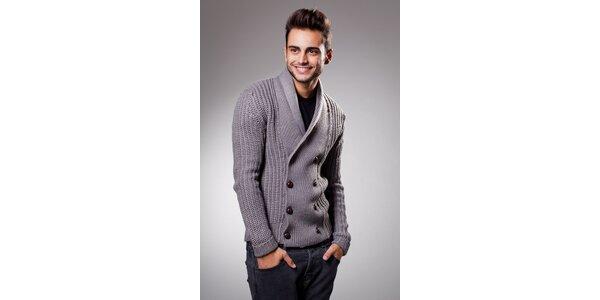 Pánský šedý svetr Celop s hnědými knoflíky