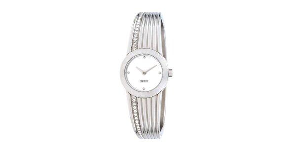 Dámské stříbrné ocelové hodinky Esprit s krystaly