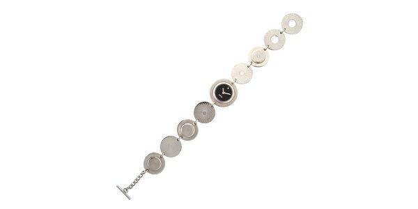 Dámské stříbrné náramkové hodinky Esprit s černým ciferníkem