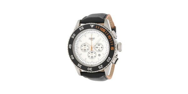 Pánské analogové hodinky s chronografem a bílým ciferníkem Esprit