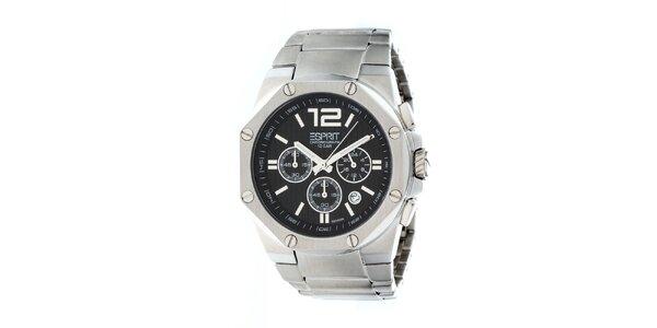 Pánské stříbrné ocelové hodinky s chronografem Esprit