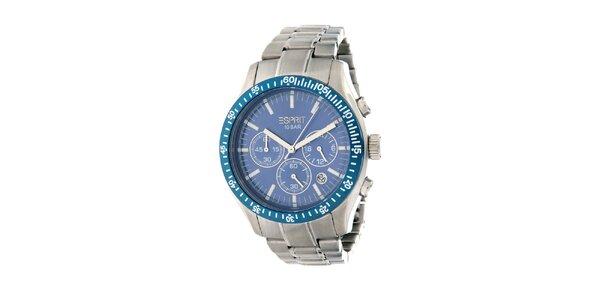 Pánské ocelové hodinky Esprit s modrými detaily