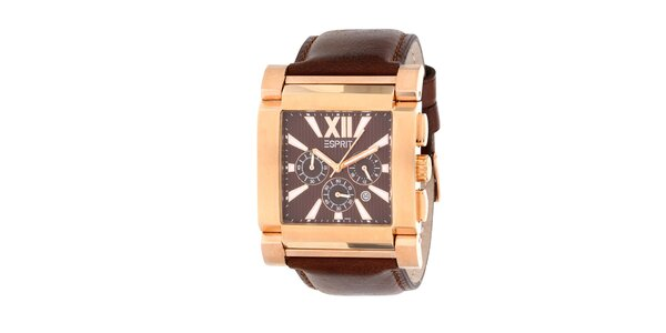Pánské ocelové hodinky Esprit s hnědým koženým řemínkem