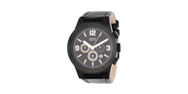 Pánské černé hodinky Esprit s koženým řemínkem