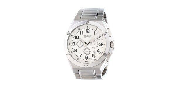 Pánské ocelové analogové hodinky s bílým displejem Esprit