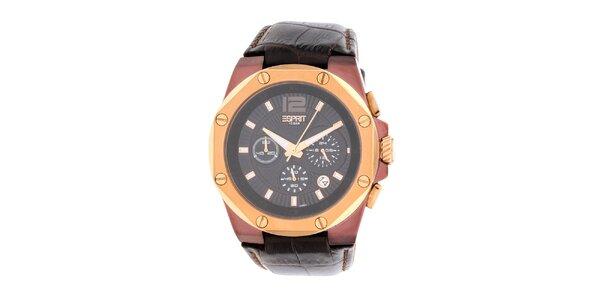 Pánské hnědo-zlaté hodinky s chronografem Esprit