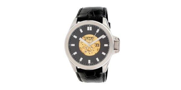 Pánské černé analogové hodinky s barevnými detaily Esprit