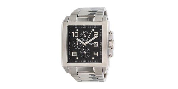 Pánské hranaté stříbrné ocelové hodinky Esprit s datumovkou