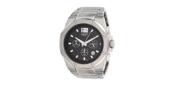 Pánské ocelové hodinky s černým displejem Esprit