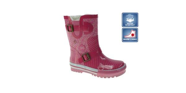 Dívčí růžové holinky Beppi s přezkami a bílým vzorkem