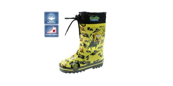 Dětské žluté zateplené holínky Beppi s motivem Spongeboba
