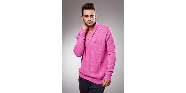 Pánský růžový svetr Celop s límcem