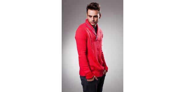 Pánský červený svetr Celop s límcem