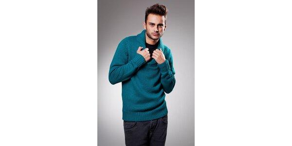 Pánský tyrkysový svetr Celop s límcem