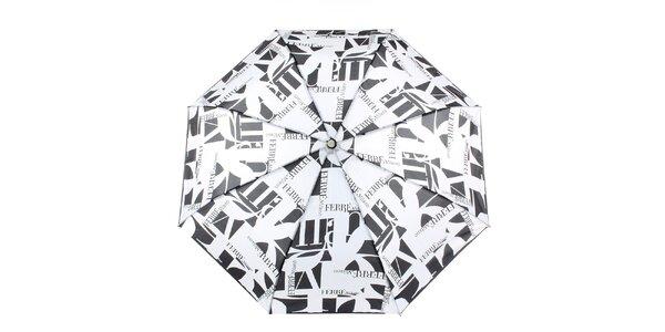 Dámský černo-bílý vystřelovací deštník s logem Ferré Milano