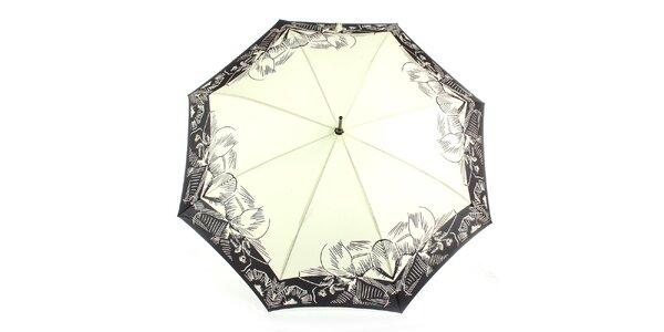 Dámský krémovo-černý vystřelovací deštník Ferré Milano