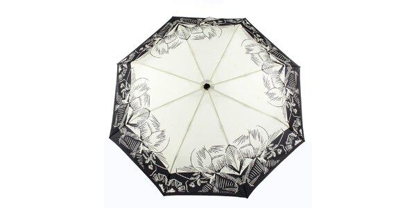 Dámský krémový deštník s tropickými květy Ferré Milano