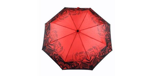 Dámský červený deštník s tropickými květy Ferré Milano