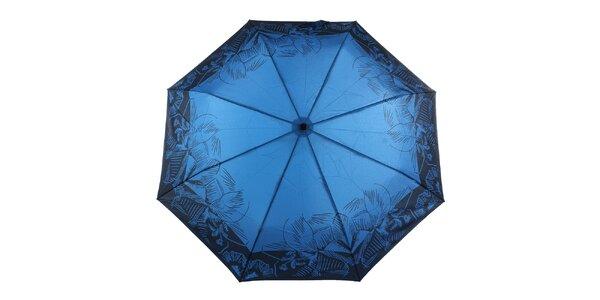 Dámský modrý deštník s tropickými květy Ferré Milano