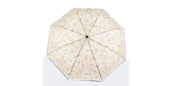 Dámský krémový deštník s hnědými květy Ferré Milano