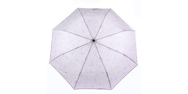 Dámský bílý deštník s fialovými květy Ferré Milano