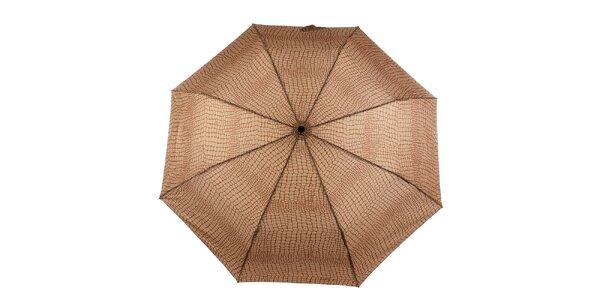 Dámský hnědo-karamelový vystřelovací deštník Ferré Milano