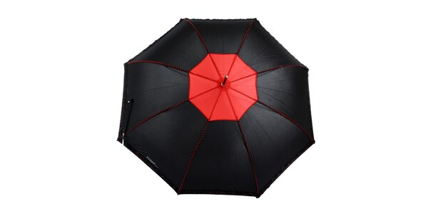 Dámský černý romantický vystřelovací deštník s červenými detaily Ferré Milano