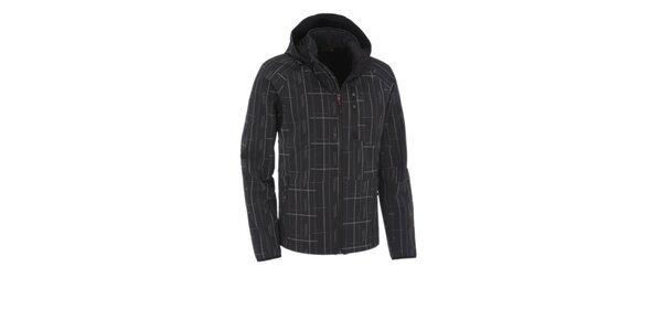 Pánská černá softshellová bunda Maier s šedivým potiskem