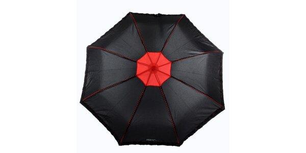 Dámský černo-červený deštník s plastickými květy Ferré Milano