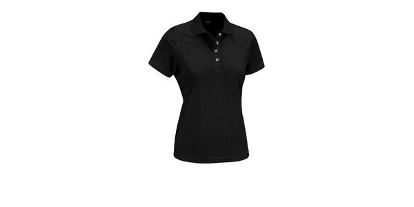 Dámské černé polo tričko Maier s bílými knoflíčky