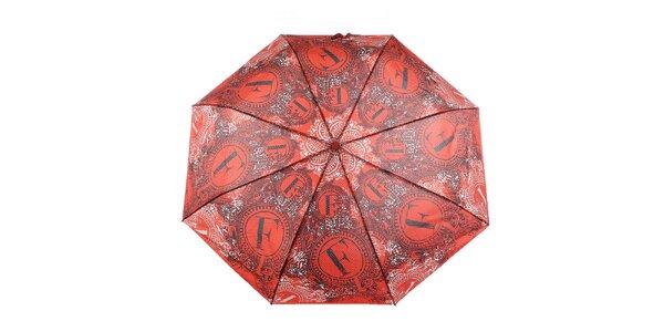 Dámský červený deštník s dekorativním vzorem Ferré Milano