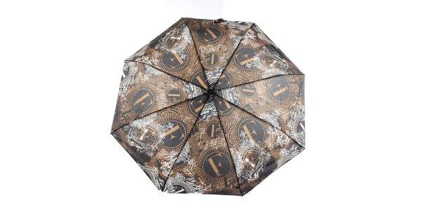 Dámský hnědo-černý deštník s dekorativním vzorem Ferré Milano