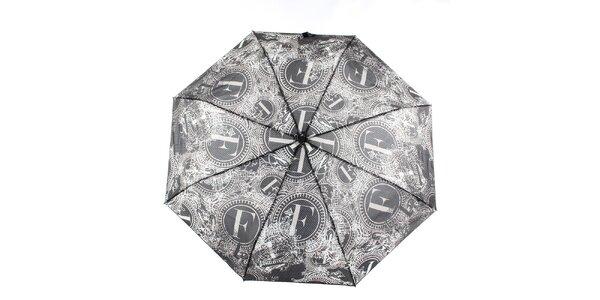 Dámský černo-bílý vystřelovací deštník s dekorativním vzorem Ferré Milano