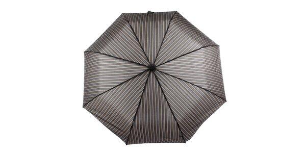 Pánský hnědý vystřelovací deštník s proužkem Ferré Milano