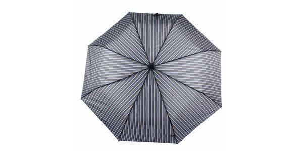 Pánský šedo-modrý deštník s proužkem Ferré Milano