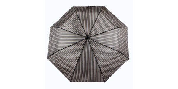 Pánský hnědý deštník s proužkem Ferré Milano