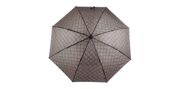 Pánský hnědý vystřelovací deštník s vzorkem Ferré Milano