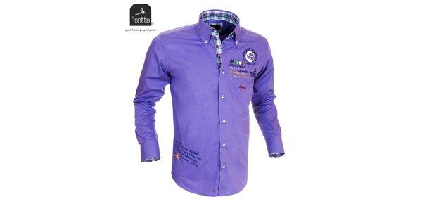 Pánská fialová košile Pontto s vyšíváním