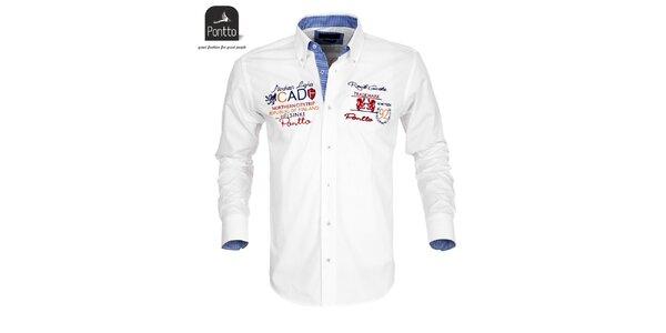 Pánská bílá košile Pontto s vyšíváním na hrudi