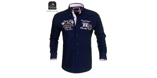 Pánská tmavě modrá košile Pontto s vyšíváním na hrudi