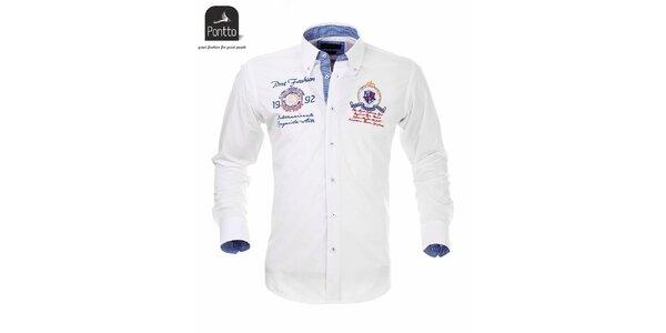 Pánská bílá košile Pontto s modře károvanou podšívkou