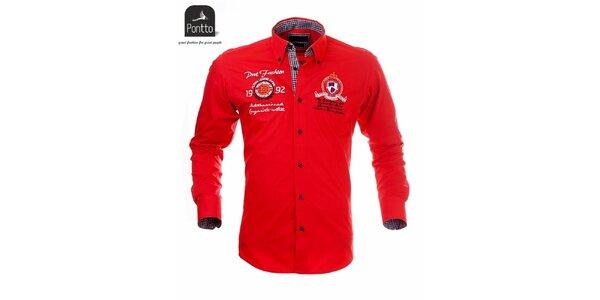 Pánská červená košile Pontto s černě károvanou podšívkou