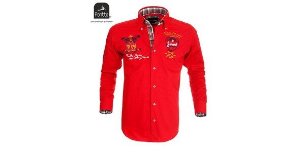 Pánská rudá košile s nášivkami Pontto