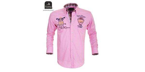 Pánská růžová košile s nášivkami Pontto