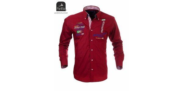 Pánská červená košile Pontto s vlaječovými výšivkami