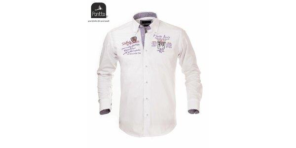 Pánská bílá košile s nášivkou na hrudi Pontto