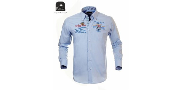 Pánská bleděmodrá košile s nášivkou na hrudi Pontto